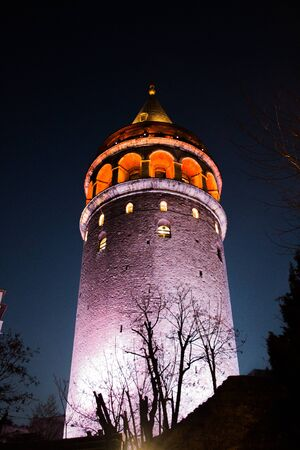 Night view of the Galata Tower from Byzantium times in Istanbul