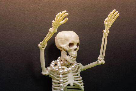 Skeleton wih hands up to scare.  Death concept Banque d'images