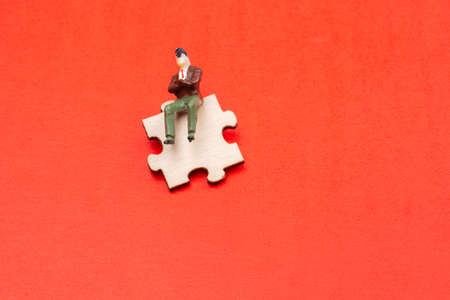 Puzzle piece as union and cooperation  thinking question, idea concept