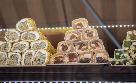 Traditional Turkish Delight,  Sugar coated soft candy Reklamní fotografie