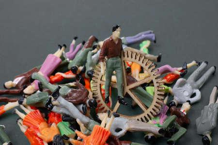 Industrial composition. Men with cogwheel gears over crowd of people Stockfoto