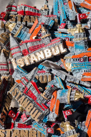 Colorful magnet souvenirs with Ä°stanbul wording from Istanbul at a souvenir shop