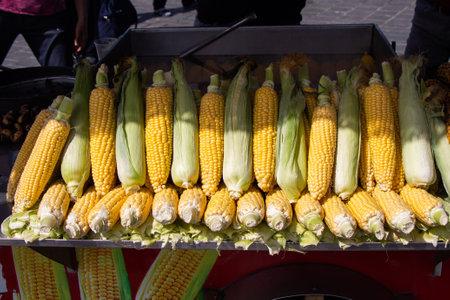 Grains of yellow ripe corn. uncooked corn in view Stock fotó