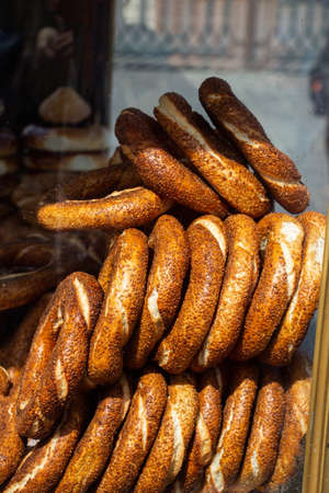 Turkish traditional simit bagels with sesame Turkish bread