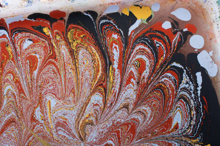Beautiful abstract art of Ebru marbling painting techniques on water with paints