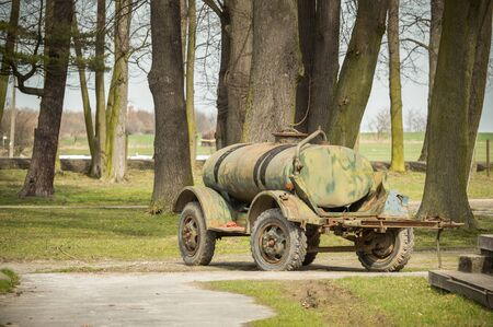Poland, Old trailer, water tank for animals