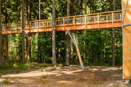 Stezka Korunami Stromu, a wooden bridge hung between the trees.