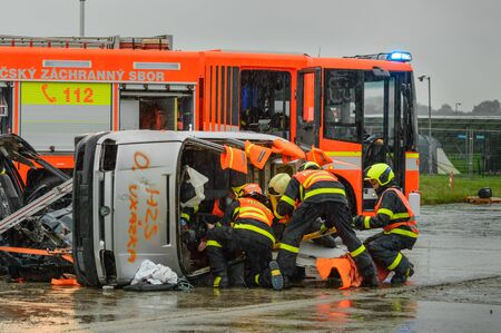 Czech Republic, Ostrava Exercises of rescue operation in a car accident.