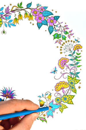 Anti-stress coloring book for everyone. Small elements create a pattern to be colored with pencils. A way to rest mentally, after painting creates a colorful picture.