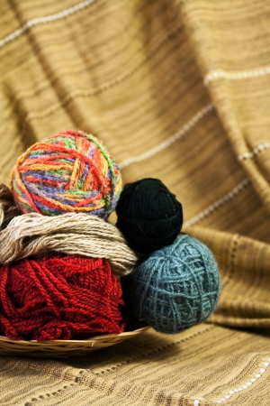 yellow fleece: Balls of colored yarn for hand knitting in a decorative basket