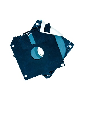 Fractured 3.5-inch floppy disk on a white background photo