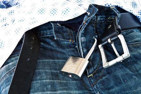 submitting: Steel Padlock locked submitting jeans under Mens shirt