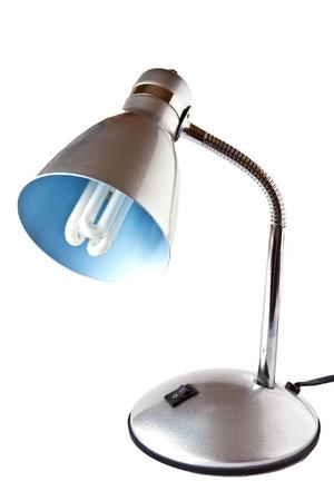 Einfache Silbermetall Tischlampe auf weißem Hintergrund Standard-Bild - 11474716