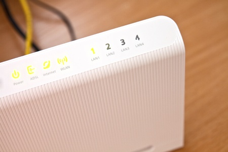 adsl: ADSL modem for home access to the global network Stock Photo