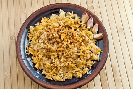 Sarmi made ??from minced leaves of cabbage, minced meat and rice photo