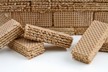 chaotically: Small rectangular cocoa wafers thrown chaotically