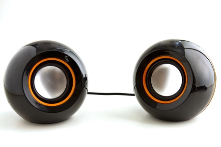 stereo subwoofer: Two speakers for desktop PC in black and orange colors