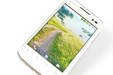 White smart cell phone with touch screen photo