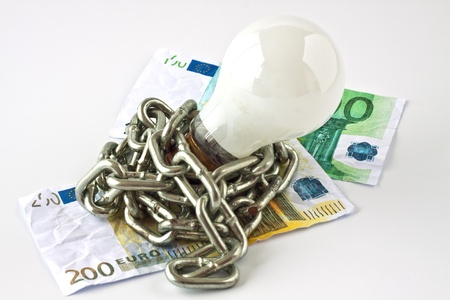 convection: Convection electric lamp with a metal chain wrapped on banknotes