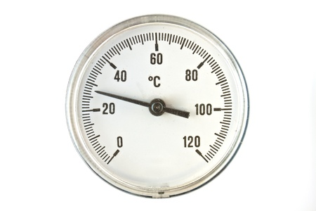 Industrial Thermometer with round analog dial with Arabic numerals photo
