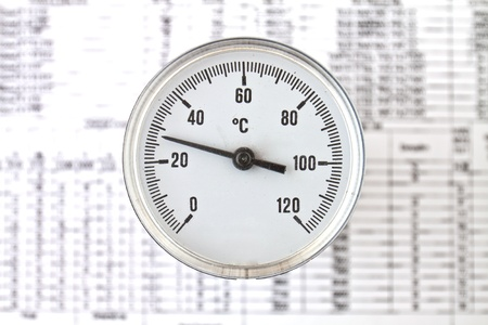 informant: Industrial Thermometer with round analog dial with Arabic numerals