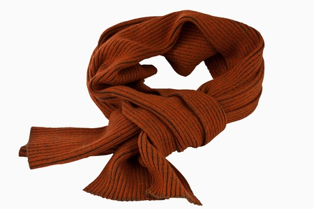 Orange knitted scarf  isolated  photo