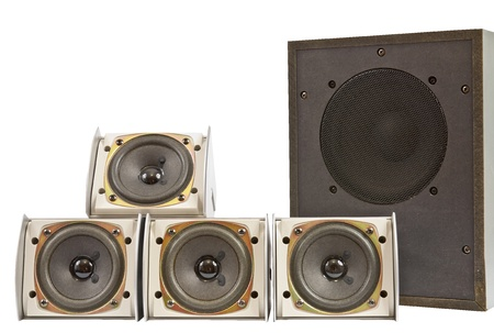Hi fi home speakers of the sound system photo