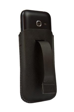 Handy Ledertasche auf weißem Hintergrund Standard-Bild - 17030153