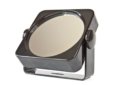Women Make Up Mirror In The Plastic Frame On The Swivel Stand Stock ...