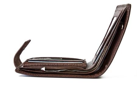 Stilvolle Herren Geldbörse aus braunem Leder auf weißem Hintergrund Standard-Bild - 18811011