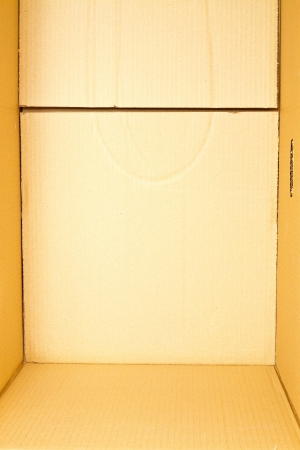 View of the interior of an empty cardboard box photo