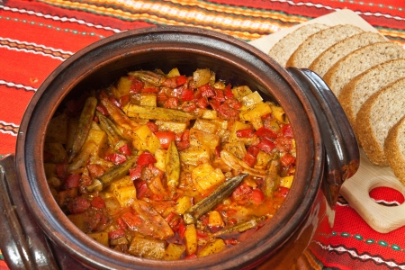 Bulgarian national dish - vegetable stew prepared and served in a ceramic pot