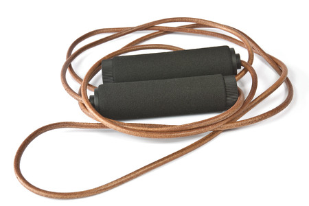 cardio workout: Skipping rope leather cardio workout on white background