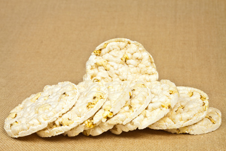 Fresh and crispy round dietary rice wafers photo