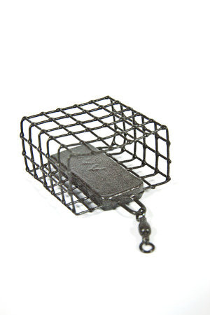 sinkers: Wire feeder designed for bottom fishing for trophy fish Stock Photo