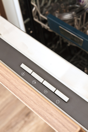 control panel lights: Digital control panel of a modern home dishwasher