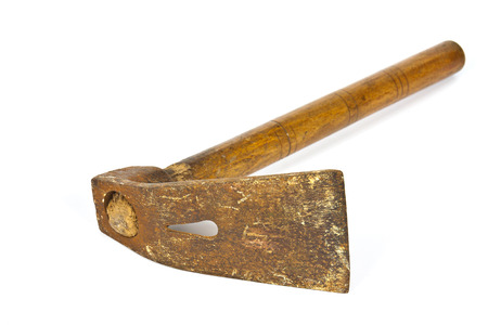 extensive: Carpentry tool adz with extensive use of white background Stock Photo