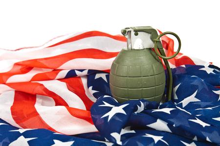 frag: Military hand grenade on American flag