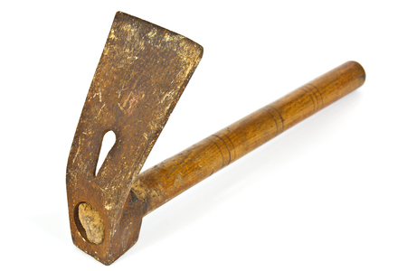 woodcutting: Carpentry tool adz with extensive use of white background Stock Photo