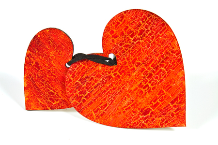 amorousness: Wooden heart painted in red with peeling texture in vintage style