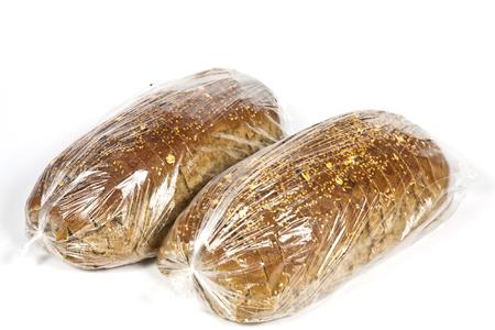 comiendo pan: Embalado en la bolsa de pl�stico de centeno hecho a mano dieta pan