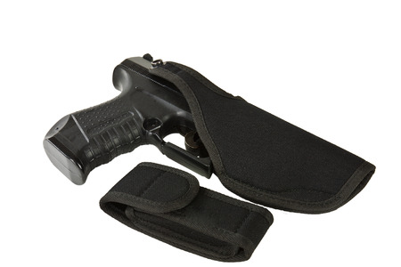 holster: Gun holster made of leather and textile material on a white background