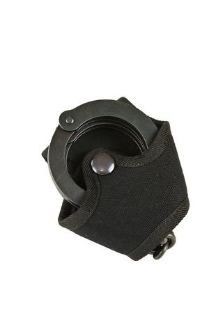 cuff bracelet: Black oxide police in handcuffs pouch belt