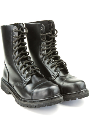 deployment: High black leather boots police on a white background