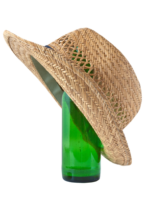 basketry: Straw hat and beer isolated on white background Stock Photo