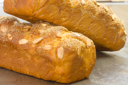 Traditional Sweet Easter bread with peeled almonds