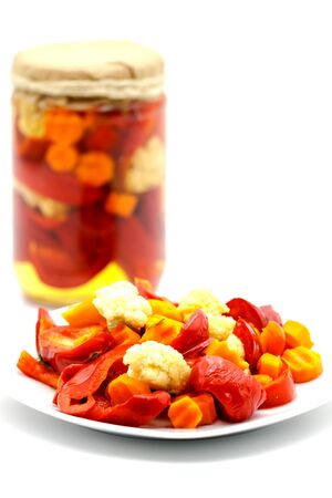 Balkan pickle made of colored cabbage, red cabbage and carrots.Selective focus with shallow depth of field. 版權商用圖片