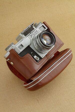 Burgas, Bulgaria-January 24, 2020: old model Russian camera Kiev 4 Type 3 (1970) 新聞圖片