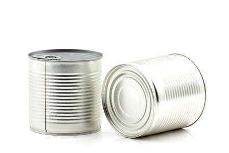 Galvanized tin can for food canning. Selective focus with shallow depth of field.