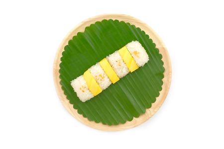 coconut milk: Thai Sweet Mango Sticky Rice with Coconut Milk, White Background